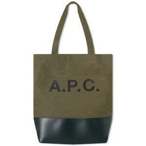 A.P.C   Green Black Canvas  Tote Bag